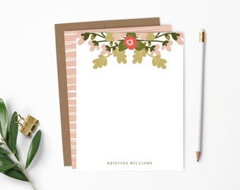 Personalized Note Card Set. Personalized Stationery. Pink & Green Spring Floral. Personalized Stationary. Flower. Personalized Gift // NC153