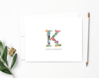 Personalized Note Card Set. Personalized Stationery. Flower Letter Monogram. Personalized Stationary. Notecards. Personalized Gift // NC103