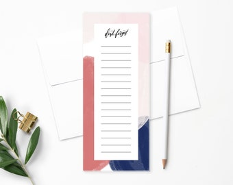 To Do List Notepad | Planner Notepad | Red, Pink, Blue Paint | List Pad | Checklist | Agenda | Don't Forget | Modern Calligraphy | NP150