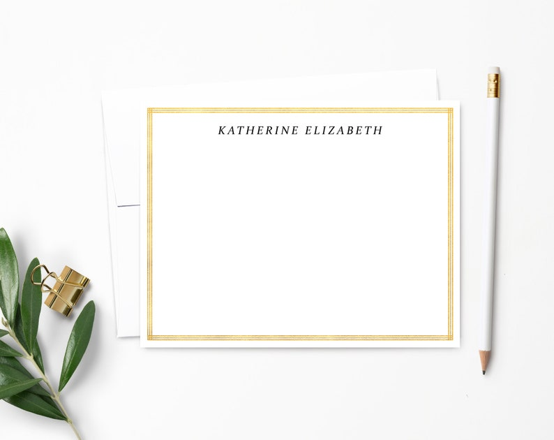 Personalized Note Card Set. Personalized Stationery. Faux Gold Ultra White