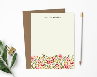 Personalized Note Card Set. Personalized Stationery. Personalized Stationary. Notecards. Tropical Hawaiian Flowers // NC123