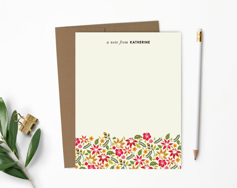 Personalized Hawaiian Flower Note Cards  Personalized 100% Recycled Kraft