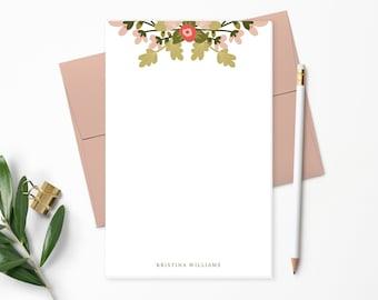 Personalized Notepad. Personalized Note Pad. Personalized Stationery. Personalized Gift. Pink & Green Spring Floral Bouquet. Flower // NP153