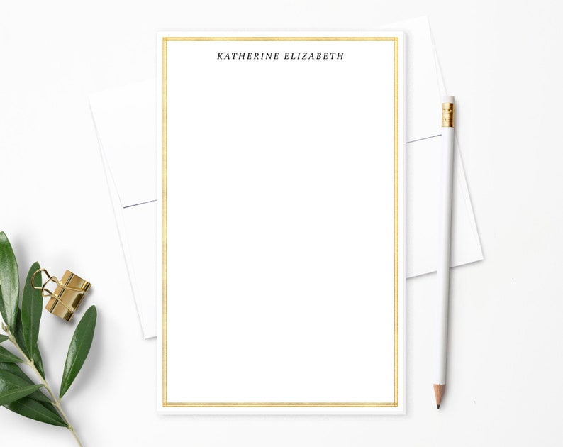 Personalized Notepad. Personalized Note Pad. Faux Gold Foil. image 0