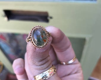 Antique Seaweed Moss Agate signet ring