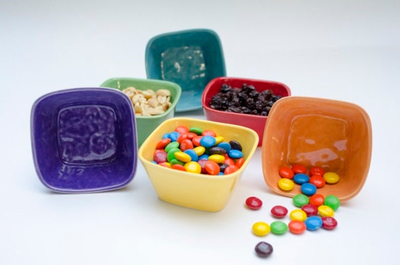 Colorful Ceramic Tiny Square Bowl prep bowl nut bowl candy image 0