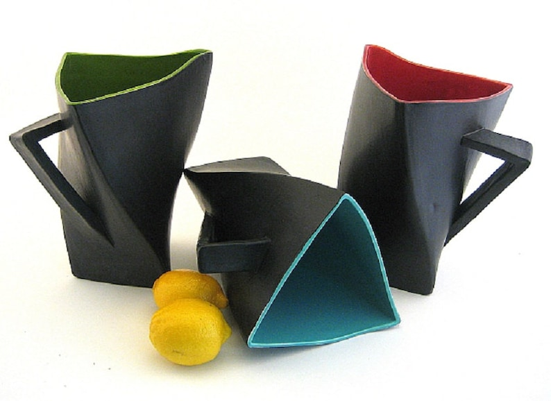 Twisty Triangle Ceramic Pitcher Black with Bright Colors image 0