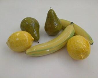 Ceramic Fruit, Home Decor, Ceramic Lemon, Ceramic Pear, Ceramic Banana, Fake Fruit, Fruit, Artificial Fruit, Table Centerpiece, pear, lemon
