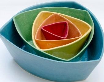 Rainbow Ceramic Triangle Nesting Bowls, set of 5 Colorful