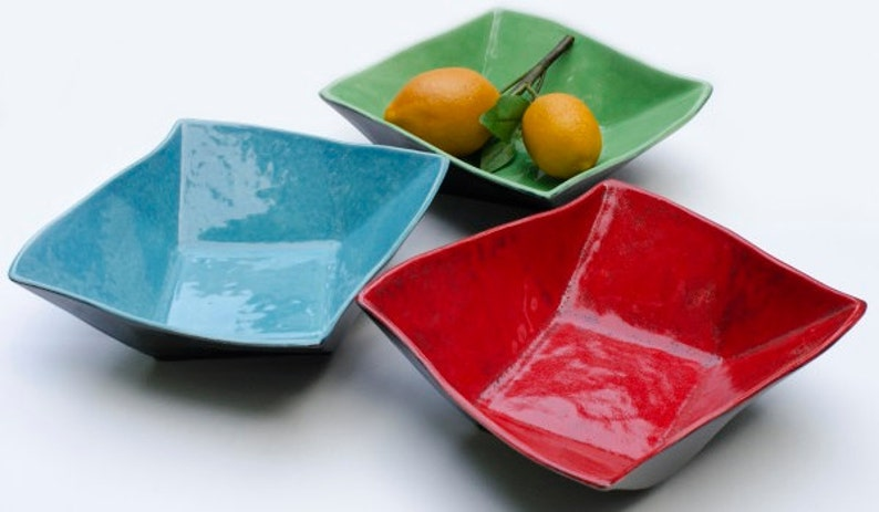 Twisty Ceramic Serving Bowl Twisted Square Bright Colors image 0