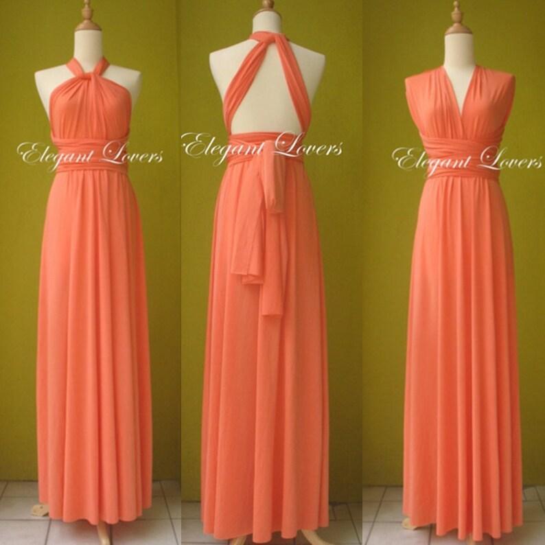 d5884bda22 Orange Wedding Bridesmaid Infinity Wrap Convertible Evening Cocktail Party  Dress Long Maxi Elegant Prom Custom Made Plus Size Bridal Dresses