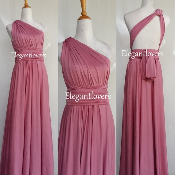 Convertible Dress Dusty Pink Wedding Dress Bridesmaid Dress Infinity Dress Wrap Dress Cocktail Party Long Maxi Elegant Prom Bridal Dresses