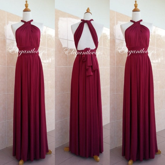 Red Wine Merlot Burgundy Dress Maroon Wedding Dress Bridesmaid Dress Infinity Dress Evening Cocktail Party Maxi Elegant Prom Bridal Dresses
