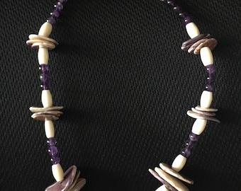 Cree Nipmuc Pequot American Buffalo Bone Carved MooseElk Pendant on Genuine Wampum Tube /& Disc Bead Necklace ~ Abenaki Penobscot