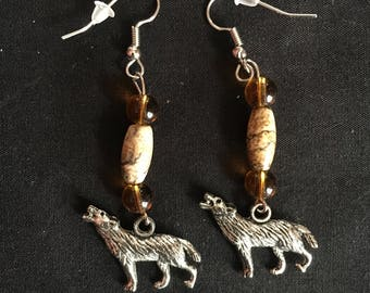 Native American wolf earrings