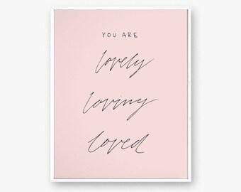 "Blush pink wall art, pink art print, positive affirmation art, you are loved art, modern nursery decor, art print, 8x10"", minimal art"