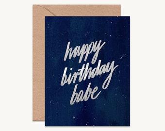 Happy birthday babe, Birthday card for boyfriend, husband birthday card, birthday card for babe, modern birthday card, happy birthday card