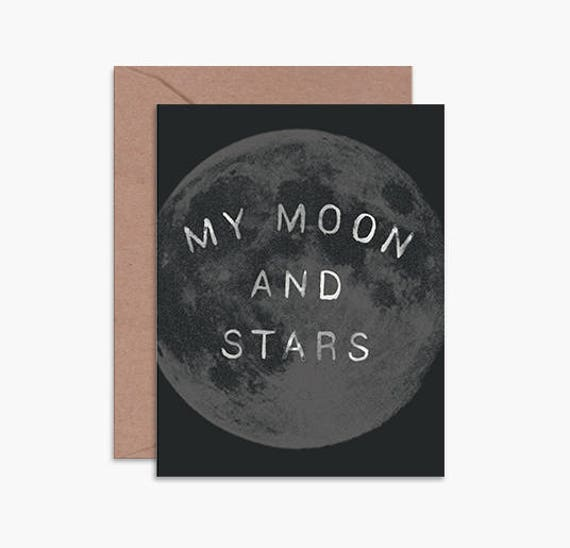 Moon and stars, card for husband, card for boyfriend, card for anniversary,  love card, card for him, astrology card, black and white card