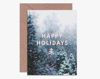 Happy holidays card, modern christmas card, snowy christmas card, christmas tree card, pink christmas card, modern holiday card