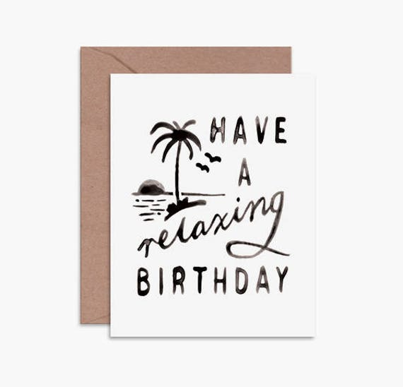 Simple Birthday Card Friend Birthday Card Beach Birthday Etsy