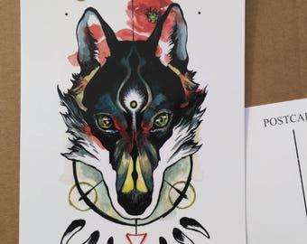 Wolf postcard print - 5x7 in / 12.6x17.8 cm - fantasy postcard - illustration postcard - wolf head - drawing postcard - wolf art, wolf print