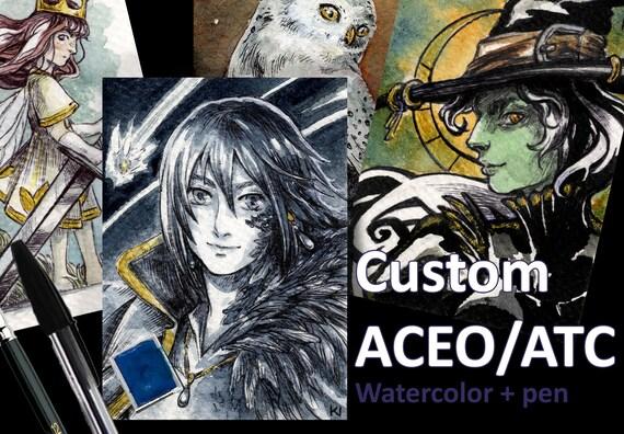 Commissione di aceo personalizzata originale atc acquerello etsy