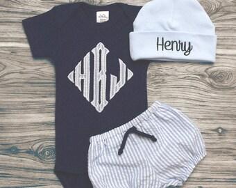 6597db0ea52c Baby boy coming home outfit personalized newborn baby boy set blue  seersucker baby boy navy bodysuit w  monogram seersucker bloomers and hat