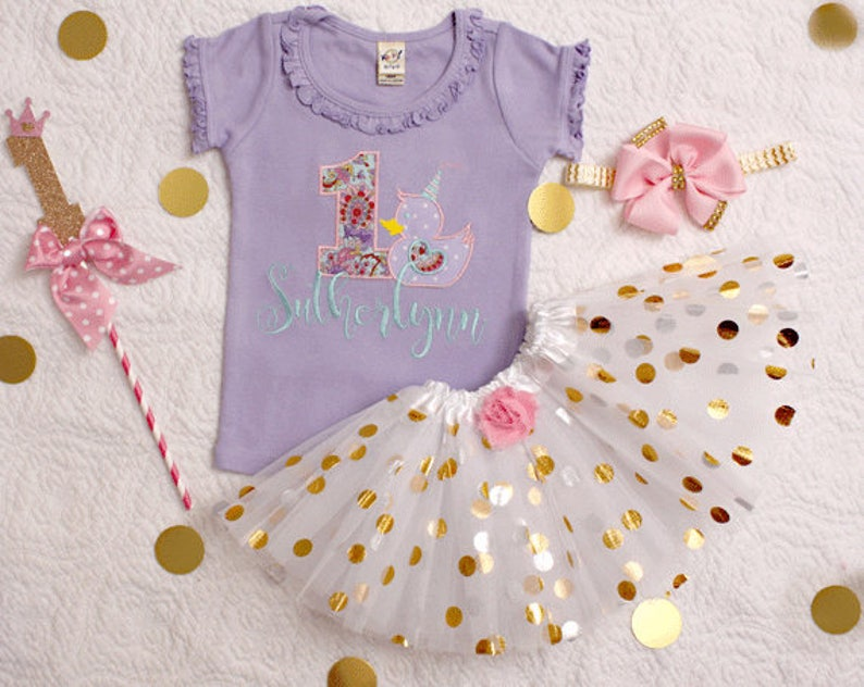 First Birthday Outfit Baby Girl Lavender Pink And Gold