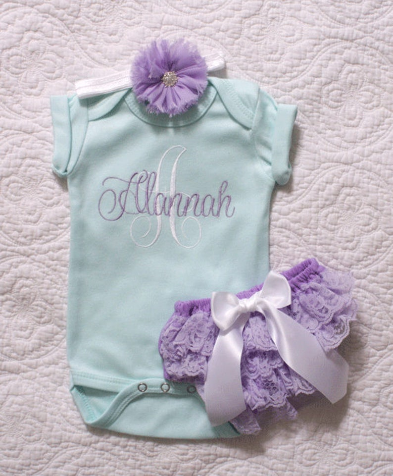 8d5a413aa Baby girl coming home outfit mint and lavender bodysuit and | Etsy