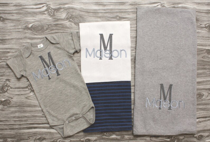 Baby boy coming home outfit in navy blue and gray bodysuit burpcloth and blanket personalized newborn baby shower gift monogrammed baby boy