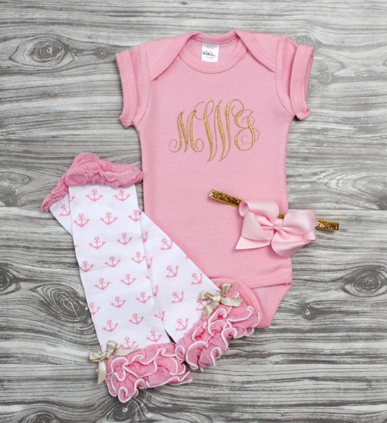 Baby girl coming home outfit in pink and gold monogrammed onepiece bodysuit and bow headband Personalized baby shower gift baby girl glam