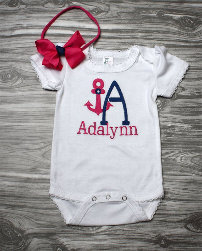 b77451091 Coming home outfit baby girl nautical pink and navy
