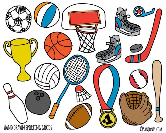 sports clip art hand drawn clip art sporting goods clip etsy