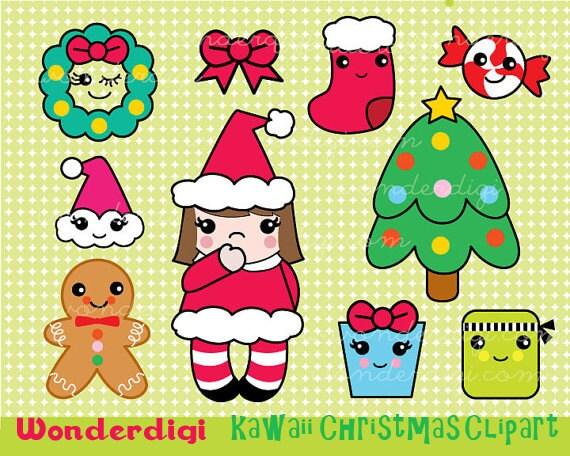 Clipart Christmas Clip Art Kawaii Clip Art Xmas Cute | Etsy