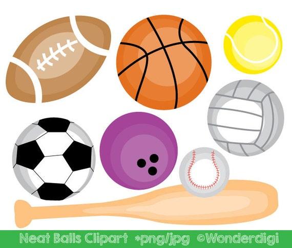 sports clipart sport balls clip art kids clipart school etsy rh etsy com Football Player Clip Art Basketball Clip Art