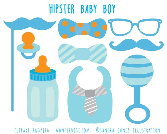 Hipster Baby Shower Clip Art Boy Baby Shower Clipart Baby Etsy