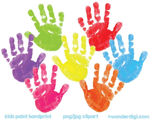 Kids Clipart Painted Clip Art Real Kids Paint Hand Print