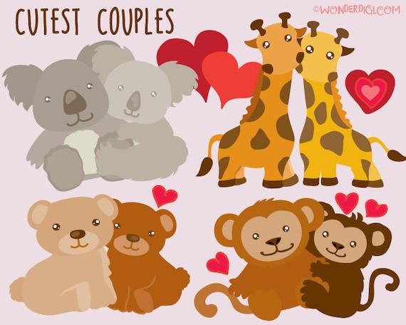 Valentine Clipart Clip Art Cute Animal Couples Clipart Etsy