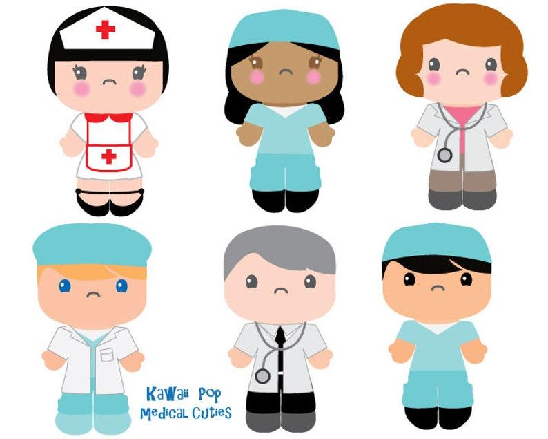 Cute Kids Clipart Kawaii Clip art Nurse Doctor clipart | Etsy