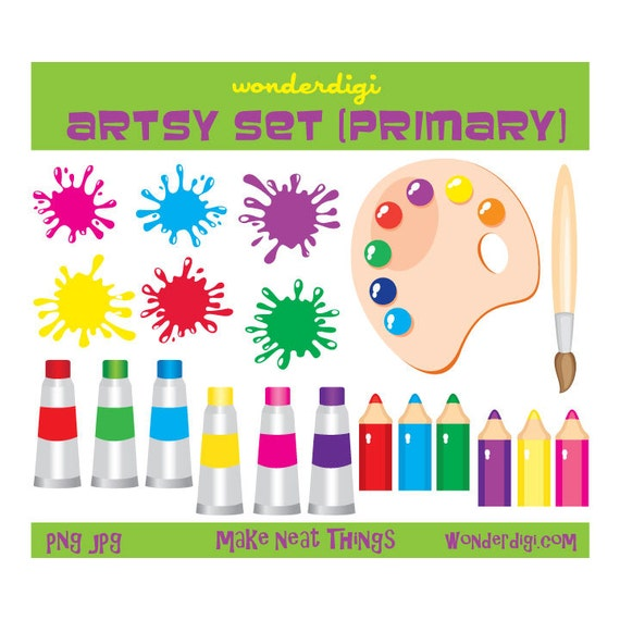 Art Supplies Clip Art Kids Paint Arts And Crafts School Etsy