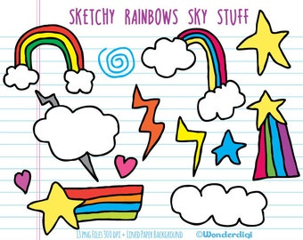 Rainbows Clip Art - Rainbows Stars Clouds Clip Art - Sketchy Doodles - Hand drawn Clipart