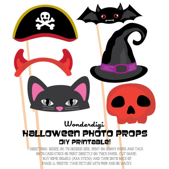 Photo Booth Props Clipart Party Hats Halloween Photo Booth Etsy