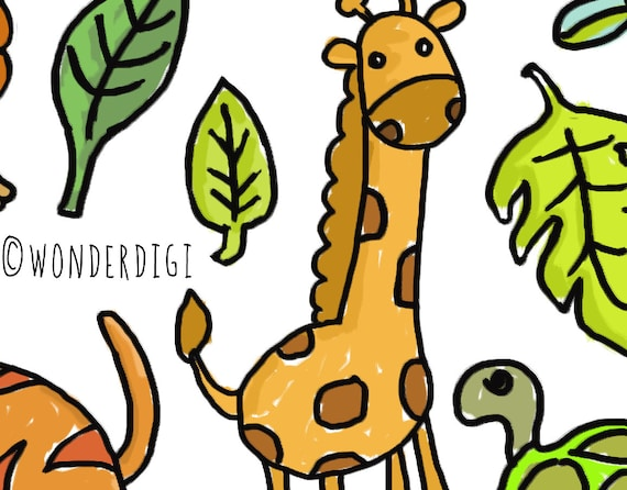 zoo animal doodles safari animals clipart hand drawn clip etsy rh etsy com clip art zoo animal silhouettes clipart zoo animals preschool