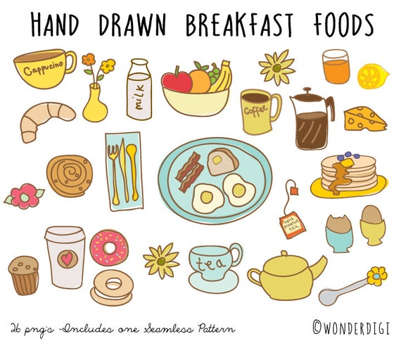 hand drawn clipart doodles clip art breakfast clipart food etsy rh etsy com free breakfast food clipart Breakfast Bar Clip Art