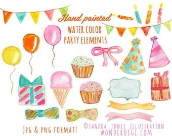 Watercolor Clipart - Watercolor Birthday Party - Watercolor Clipart - Party Clip art