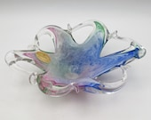 Vintage MURANO Art Glass Hand Blown Small Bowl Dish Blue Pink Green, ITALY