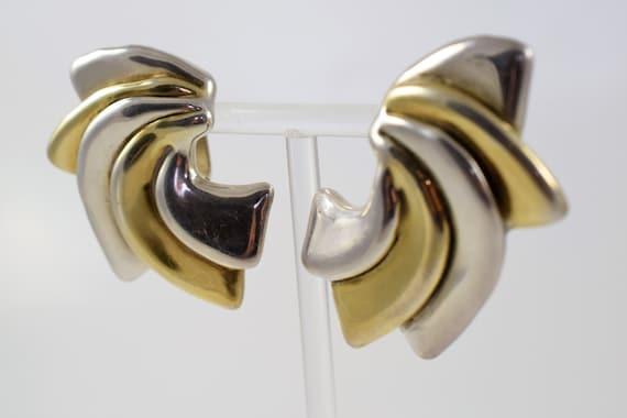 Vintage Large Israel Electroform Sterling Silver Earrings Clip On Designer Signed TAMI925 silver