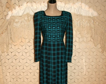 45ed3f5efbee2f 90s Long Sleeve Maxi Dress Women Medium Black   Teal Plaid Rayon Grunge  Embroidered Romantic Boho Clothes Sarah Elizabeth Vintage Clothing