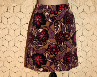 8bc5e331060ed2 Womens Corduroy Skirt Small Casual Hippie Boho Floral Paisley Print Short  Skirt Purple Hot Pink Size 6 Skirt Ann Taylor Womens Clothing