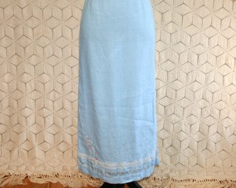 11f22fa23f80 Linen Maxi Skirt Long Light Blue Embroidered Lace Trim Romantic Boho Clothes  Spring Summer 90s Vintage Clothing Women Small